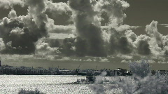 Infrared Finland: clouds over sea and Suomenlinna fortification 1 Stock Footage