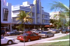 Miami, South Beach, art deco Colony Hotel, traffic, wide shot Stock Footage