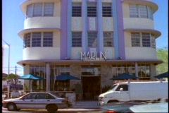 Miami, South Beach, art deco hotel, Marlin, wide shot, tilt up Stock Footage