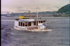 Amazon River, close up of boat moving up river Stock Footage