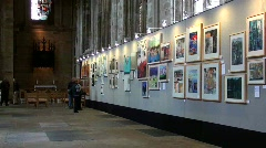 Art gallery exhibition Stock Footage