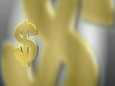 Stock Video Footage of Three Gold Dollar Signs on Moving BG PAL