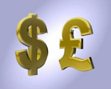Gold Dollar and Pound PAL Stock Footage