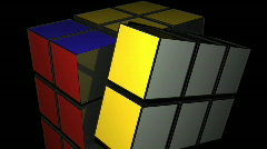 t205 rubix cube 80s puzzle game turning turn a - stock footage