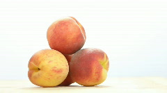 Fresh peach in woman's hand. Stock Footage
