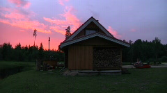 Estonian sauna with sunset Stock Footage