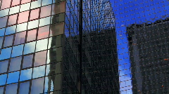 Close-up, corporate buildings, NYC Stock Footage
