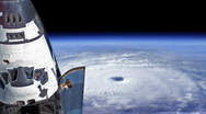 Stock Video Footage of Hurricane with Space Shuttle