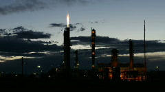 Oil Refinery at Sunset Time Lapse Stock Footage