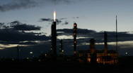 Stock Video Footage of Oil Refinery at Sunset Time Lapse