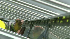 Building of solar powerplant - stock footage