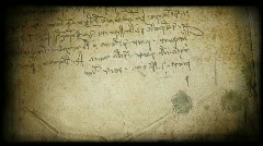 leonardo writing grungy background - stock footage