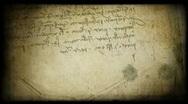 Leonardo writing grungy background Stock Footage