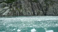 Stock Video Footage of Glacial ice flat waterfall Alaska P HD 8324
