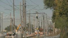 Construction Workers Fix the Trax Train Line Stock Footage