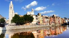 Girona spain urban city river tourist landmarks Stock Footage
