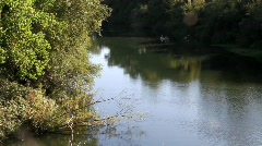 Russian River and Canoes Stock Footage