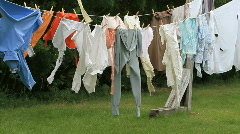 Stock Video Footage of Laundry drying clothes line old farm ranch  P HD 1123