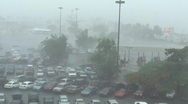 Stock Video Footage of Hurricane Earl - Airport battered by strong winds and rain 2 with audio