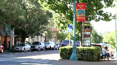 Downtown Healdsburg Street Corner Stock Footage