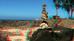 Tranquil Rock Garden in Stereoscopic 3D  Stock Footage