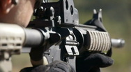 Stock Video Footage of shooting M16 close up