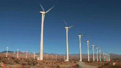 Desert Wind Farm in Stereoscopic 3D Stock Footage