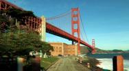 Beneath Golden Gate Bridge in Stereoscopic 3D Stock Footage