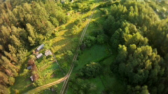 Fly over forest fish eye view Stock Footage