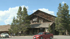 P01171 Old Faithful Lodge at Yellowstone National Park Stock Footage