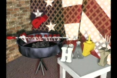 0106 4th fourth july cookout bar b q flag american Stock Footage