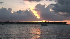 Key west sunset with boats - stock footage