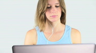 Woman Works At Computer Stock Footage