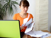 Woman worrying about home finances Stock Footage