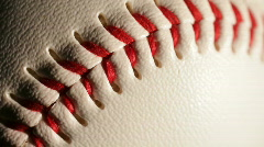 Baseball close up of ball stitching Stock Footage