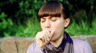 Stock Video Footage of Sick woman coughing, outdoors