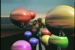 0633 road spheres colorful background Stock Footage