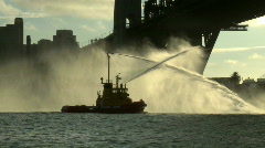 Fire boat on Sydney Harbor 01 Stock Footage