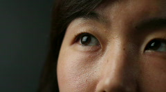 Korean woman's eyes, dolly shot Stock Footage