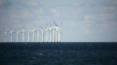 Danish windmills at Sea - stock footage