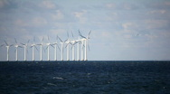 Stock Video Footage of Danish windmills at Sea