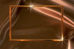 0827 gold satin frame star tracing background Stock Footage