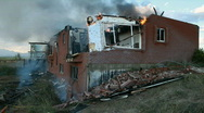Stock Video Footage of House burning bricks fall P HD 0749