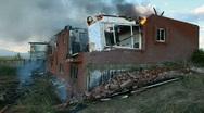 House burning bricks fall P HD 0749 Stock Footage