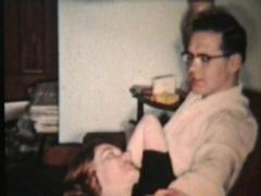 Young Couple In Love At Christmas (1958 Vintage 8mm film) Stock Footage