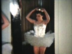 Ballerina Princess Prepares To Dance (1958 Vintage 8mm film) Stock Footage