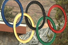 Squaw Valley Olympic Rings In Rain Stock Footage