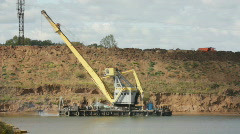 Development sandpit with dredge Stock Footage