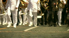 The Brass Band Walking The Road Full HD 1080p Stock Footage
