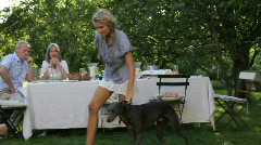 Children in garden playing with dog, parents at table in the background eatin Stock Footage